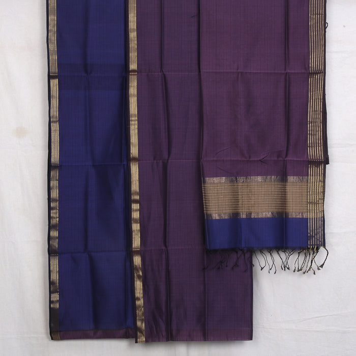 Sarangi Handwoven Maheshwari Silk-Cotton Suit - 1405300PUR