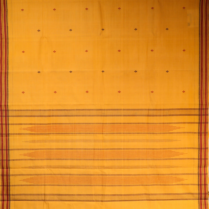 Gandhigram Handwoven Khadi Cotton Muslin Saree - 1415187YEL