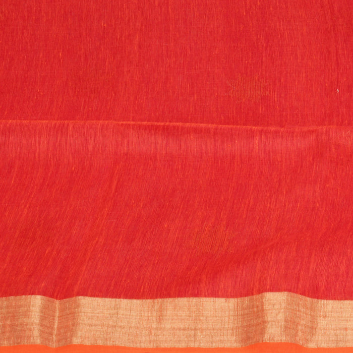 Sarangi Handwoven Linen-Silk Saree - 1425131RED