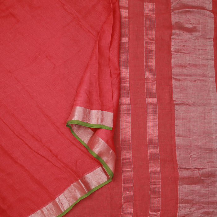 Sarangi Handwoven Linen Saree - 1423945PIN