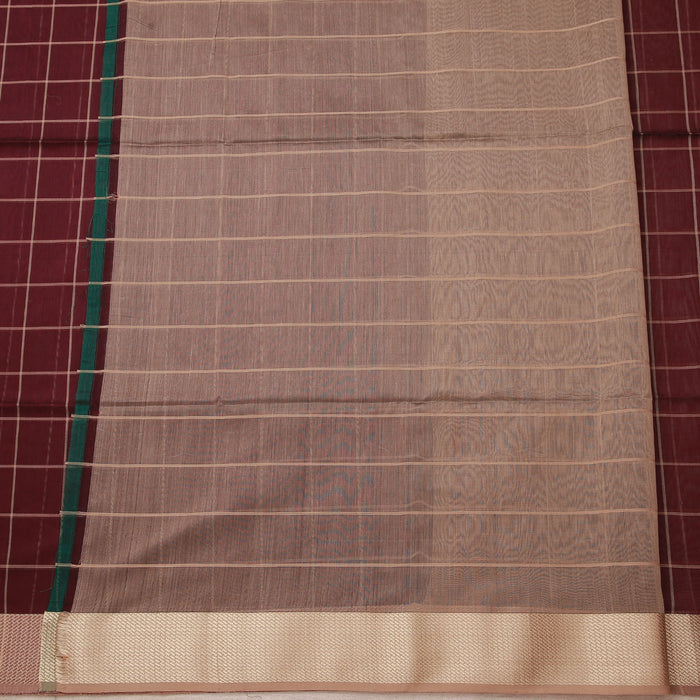 Sarangi Handwoven Maheshwari Silk-Cotton Saree - 1433984BRO