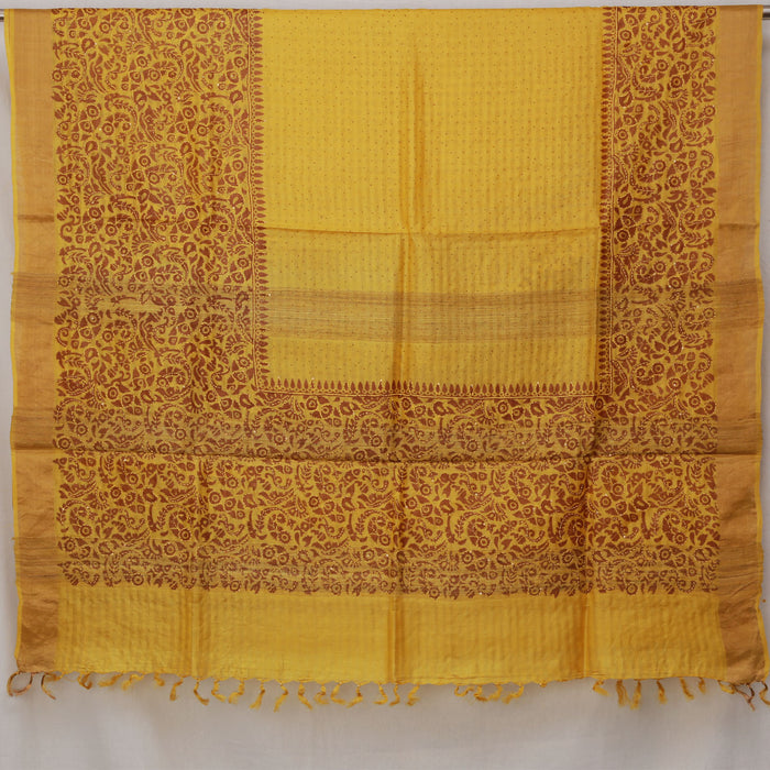 Sarangi Handwoven Tussar Silk Print with Kantha Embroidery Saree - 1444931YEL