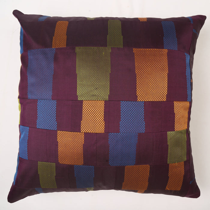 Sarangi x Kambli Studio : Patchwork Silk Cushion Cover - 1505386MUL