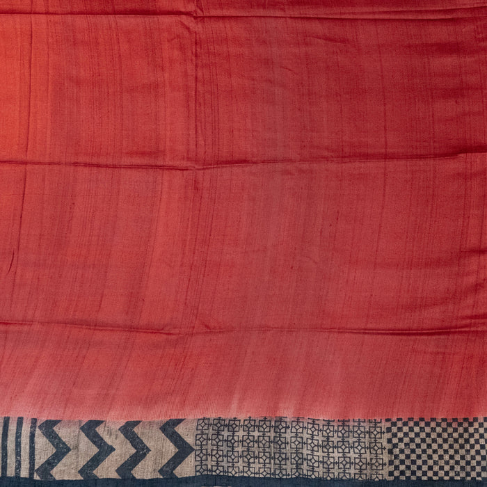 Handwoven Tussar Saree - 1535551RED