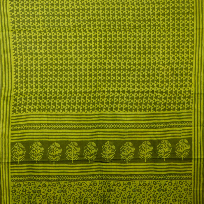 Sarangi Handwoven Maheshwari Silk-Cotton Saree - 1405023GRE