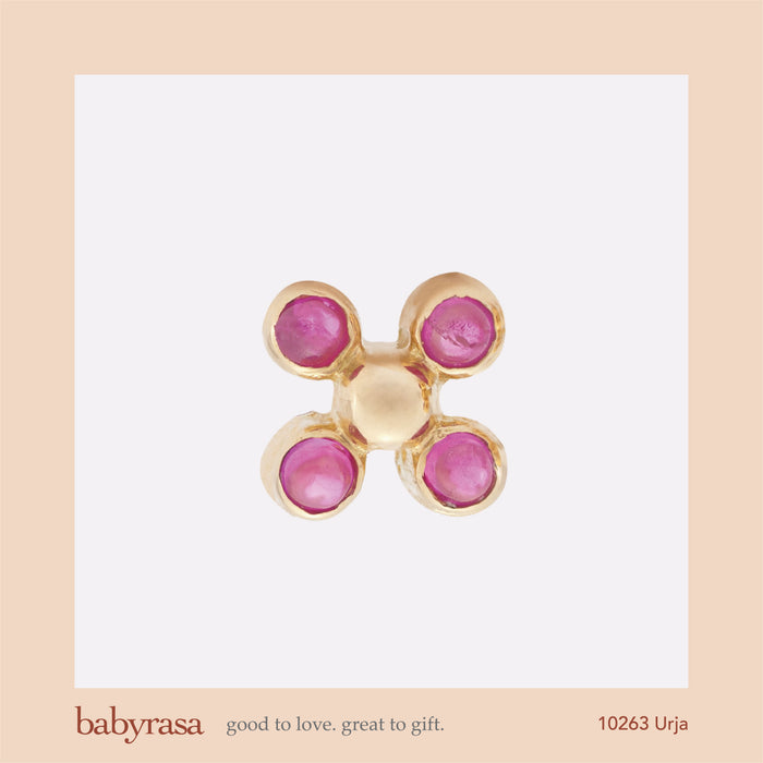 The Babyrasa Urja Gold and Ruby Ear Studs by Rasvihar 41_10263