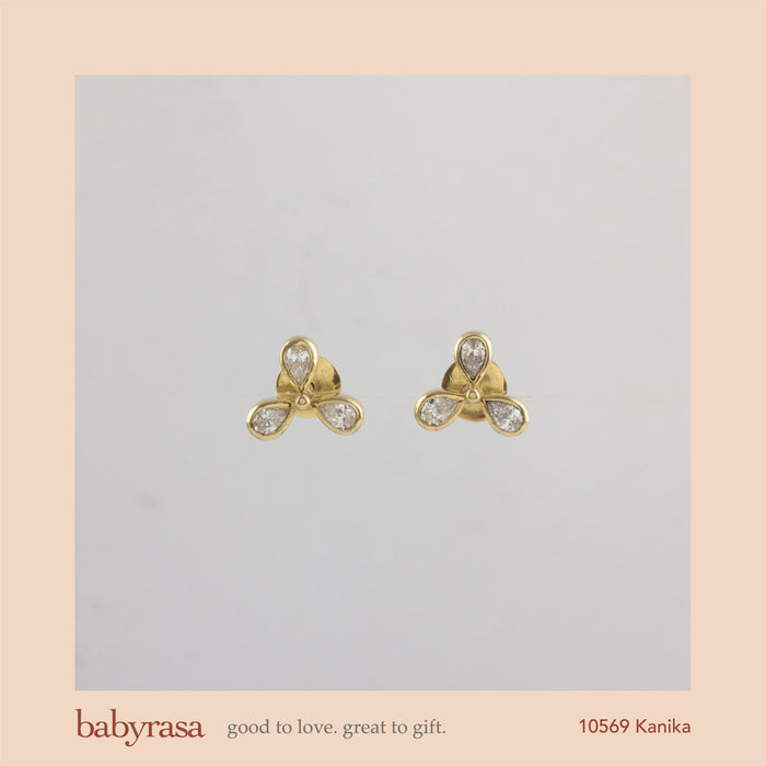 The Babyrasa Kanika Gold and Diamond Ear Studs by Rasvihar 41_10569