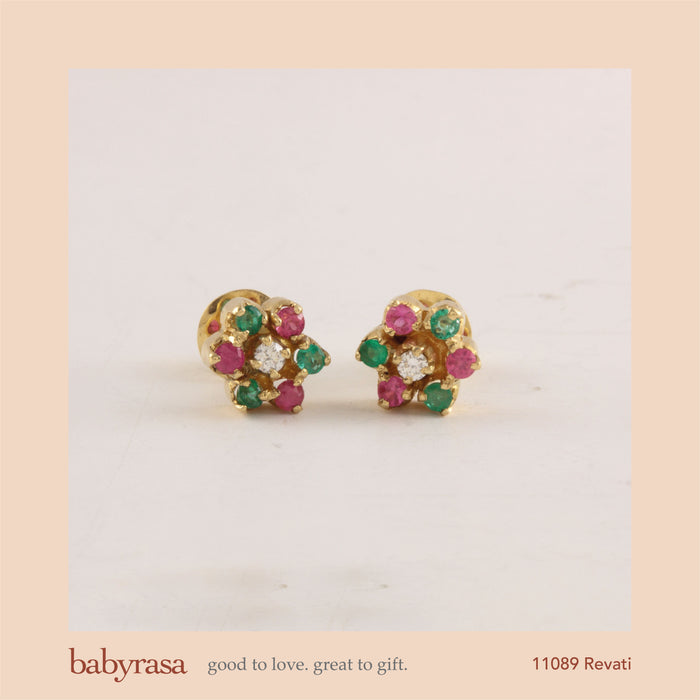 The Babyrasa Revati Gold, Diamond, Ruby and Emerald Ear Studs by Rasvihar 41_11089