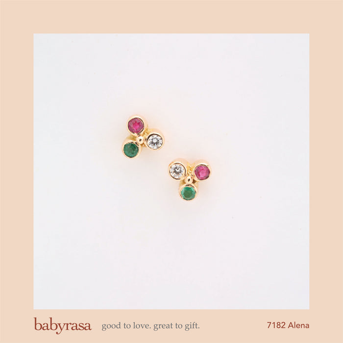 The Babyrasa Alena Gold, Diamond, Emerald and Ruby Ear Studs by Rasvihar 41_7182