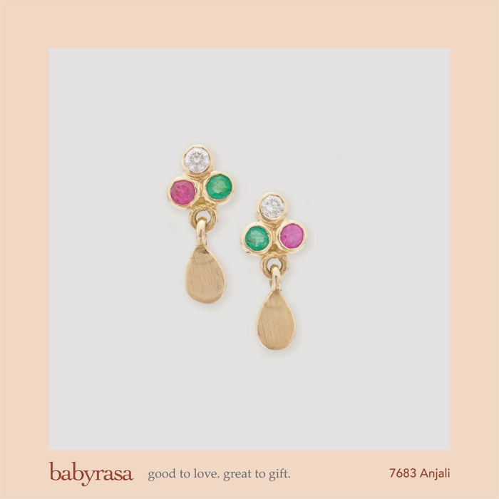 The Babyrasa Anjali Gold, Diamond, Ruby and Emerald Ear Studs by Rasvihar 41_7683