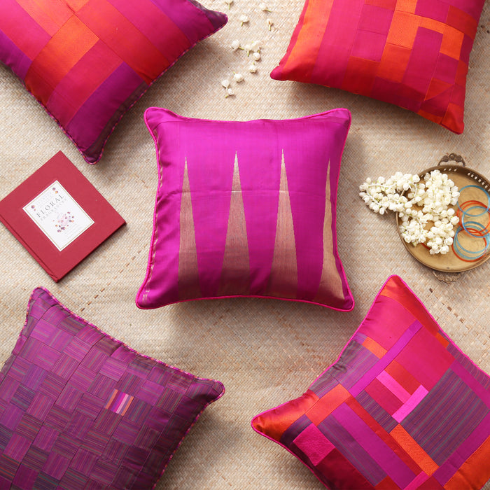 Sarangi x Kambli Studio : Patchwork Silk Cushion Cover - 1505378PIN