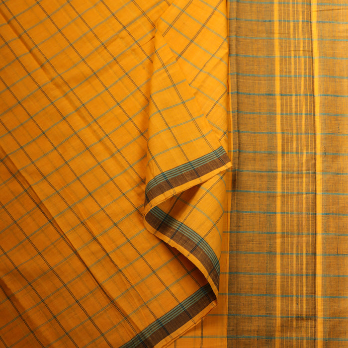 Gandhigram Handwoven Khadi Cotton Muslin Saree - 1415388YEL