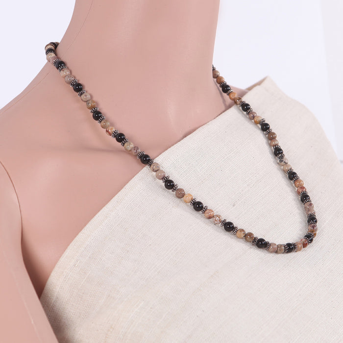 Amarnita  Black Onyx and Silver Necklace by Banswari BJM078