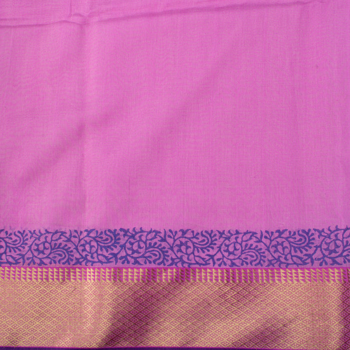 Sarangi Handwoven Maheshwari Silk-Cotton Saree - 1405582PUR
