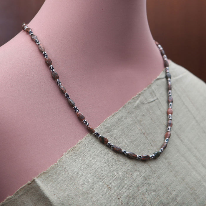 Deepalina Jasper and Silver Necklace by Banswari BJM019