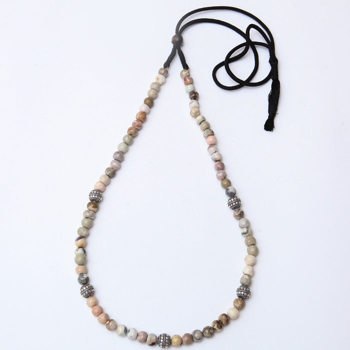 Harnishi Howlite and Silver Necklace by Banswari BJM097