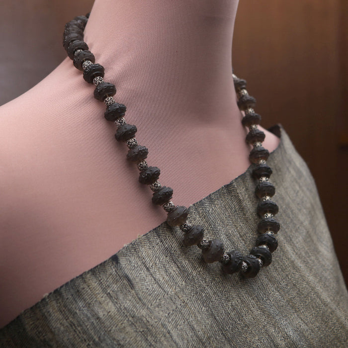 Malakshi Carved Smoky Topaz Necklace by Banswari BJM007