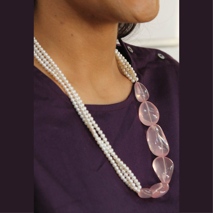 Netralia Pearl and Pink Quartz Necklace by Banswari BJM177
