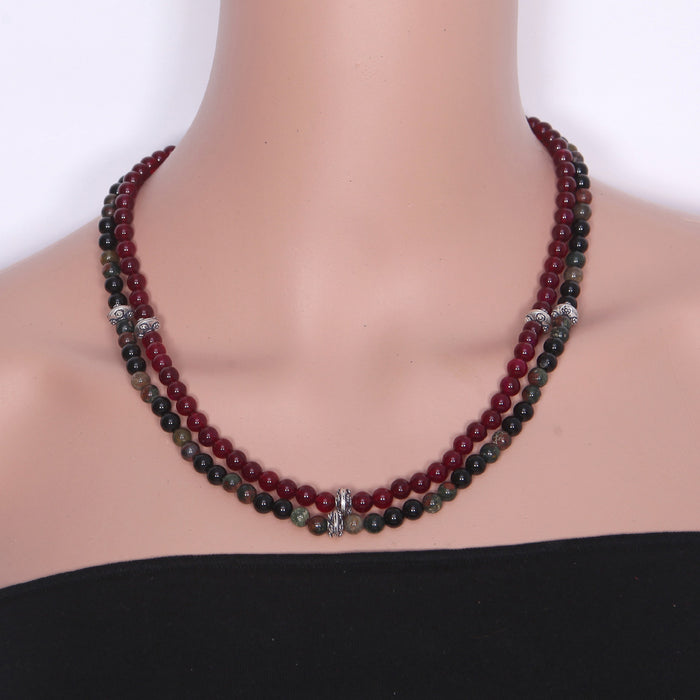Rimjhol Black Onyx and Silver Necklace by Banswari BJM099