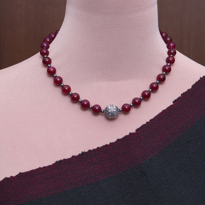 Runjhun Red Onyx and Silver Necklace by Banswari BJM032