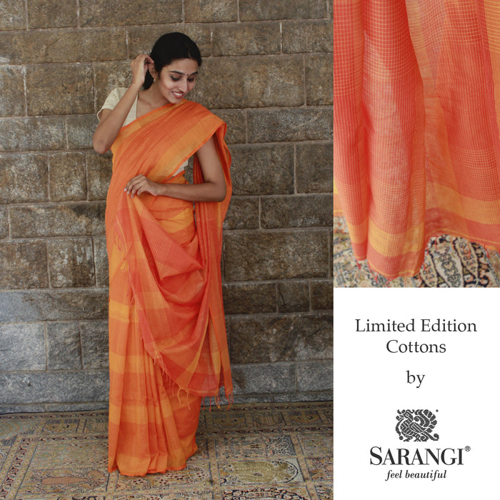 Sarangi Handwoven Soft Cotton Saree - 1272321ORA