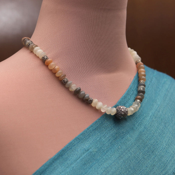 Sharini Moonstone and Silver Necklace by Banswari BJM006