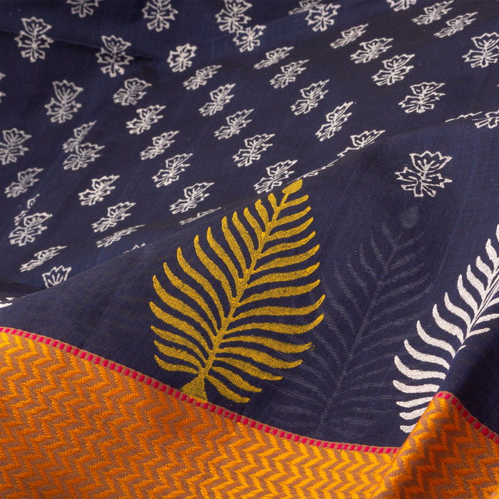 Sarangi Handwoven Maheshwari Silk-Cotton Saree - 1405615BLU