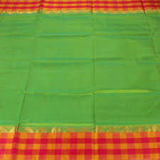 Sarangi Handwoven Silk-Cotton Sari - 1363254GRE