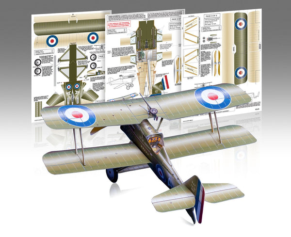 RAF S.E.5a Paper Airplane Model Kit - Huntly's Paper Warplanes - 1
