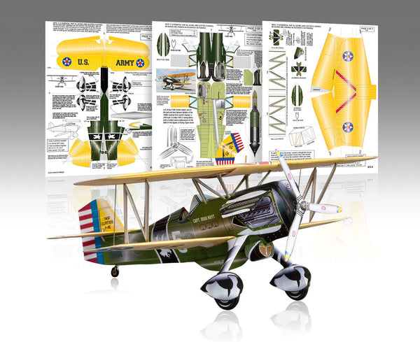 Curtiss P-6E Hawk Paper Airplane Model Kit - Huntly's Paper Warplanes - 1