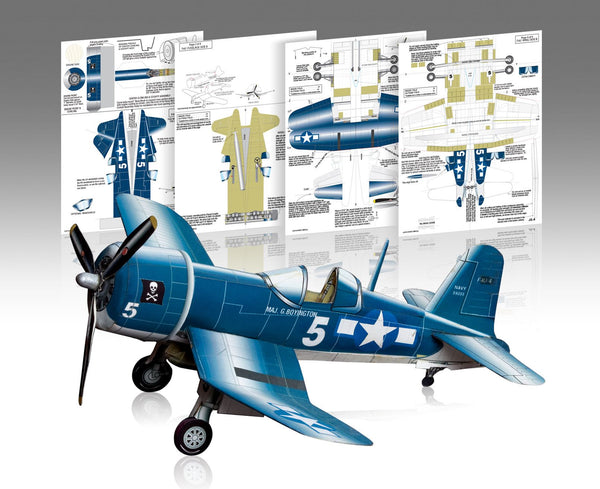 Chance Vought F4U-4 Corsair Paper Airplane Model Kit - Huntly's Paper Warplanes - 1