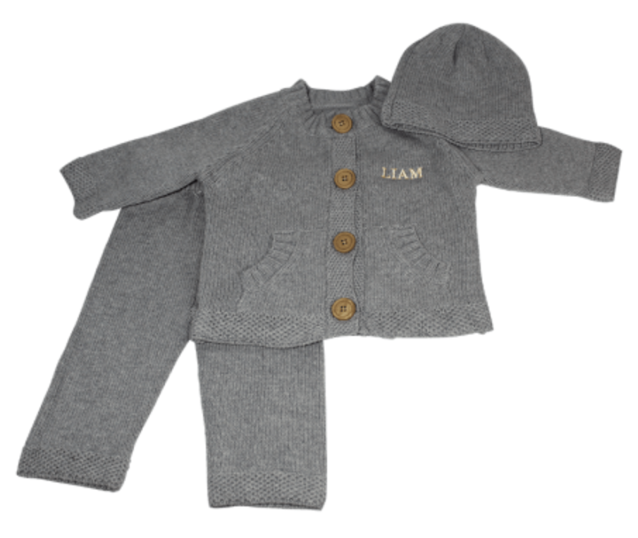 Embroidered 3 Piece Knit Set - Gray