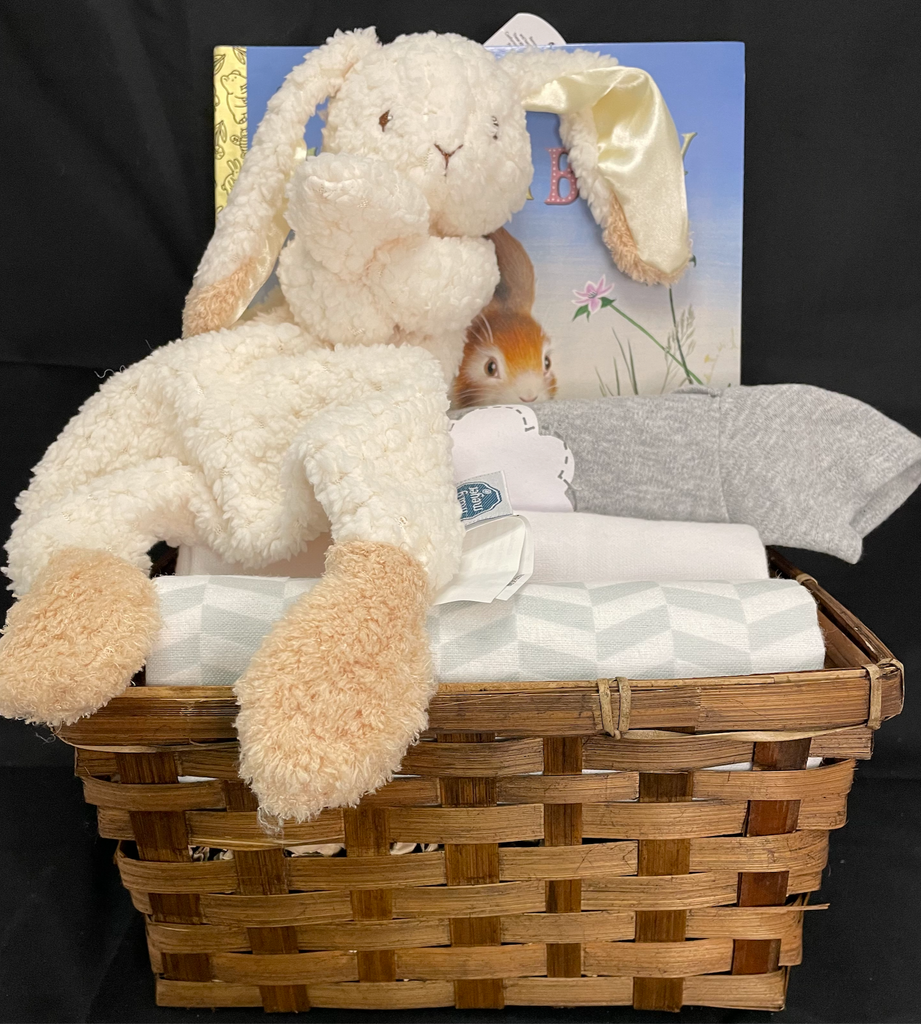 Some Bunny Loves Me Basket in Neutral Grey