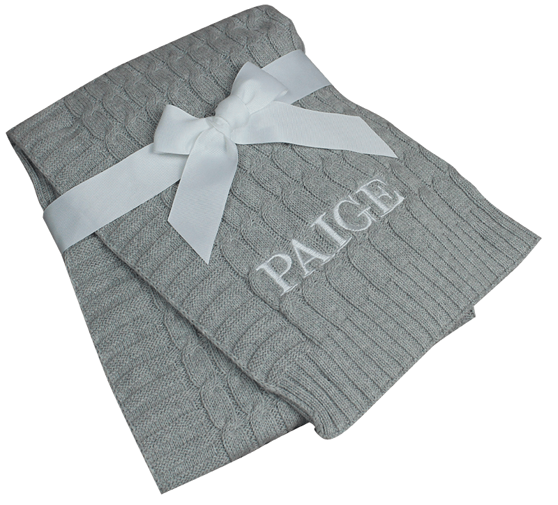 Cable Knit Embroidered Blanket - Gray