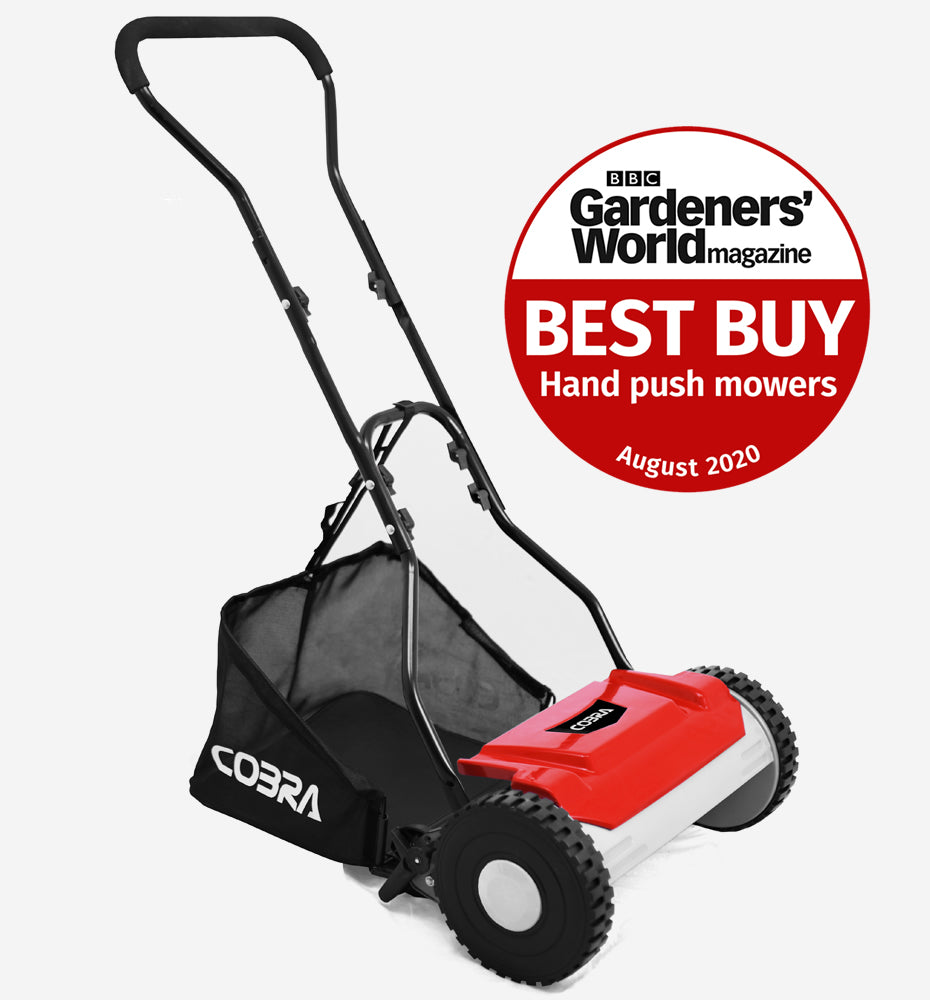 "Cobra Cylinder Lawnmower- 15"" Hand Push With Grass Collector"
