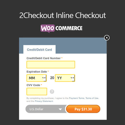 WooCommerce 2Checkout Inline Checkout