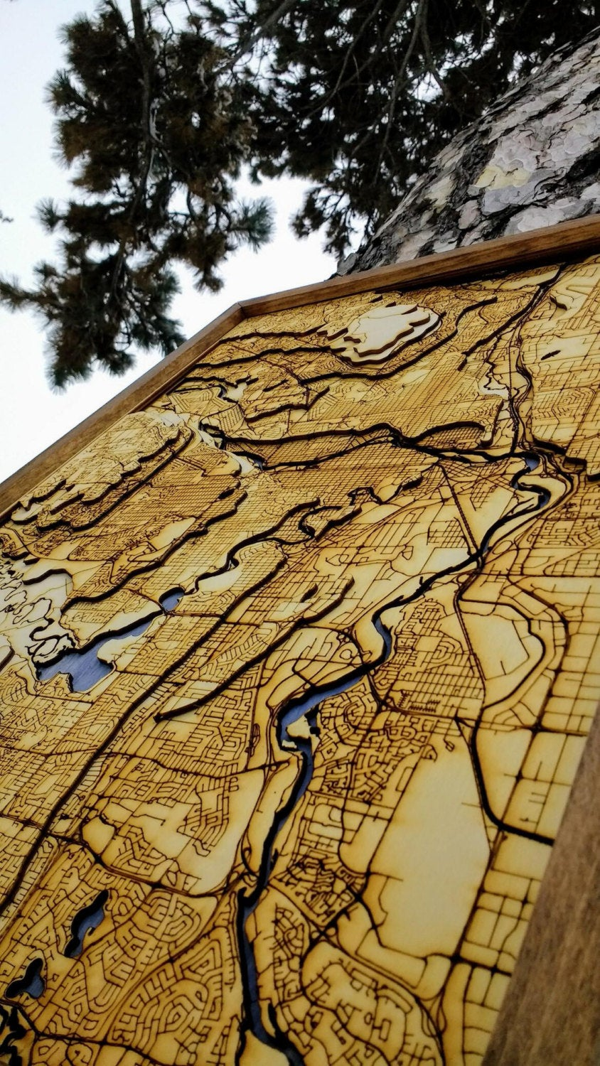 Calgary Wooden Topograhical Map