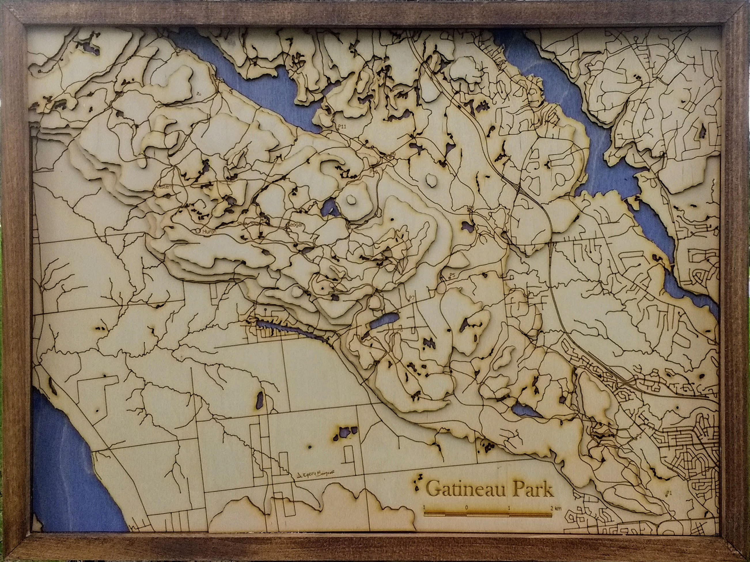 Gatineau Park Wooden Topograhical Map