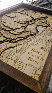 Rideau Canal and River Wooden Topograhical Map