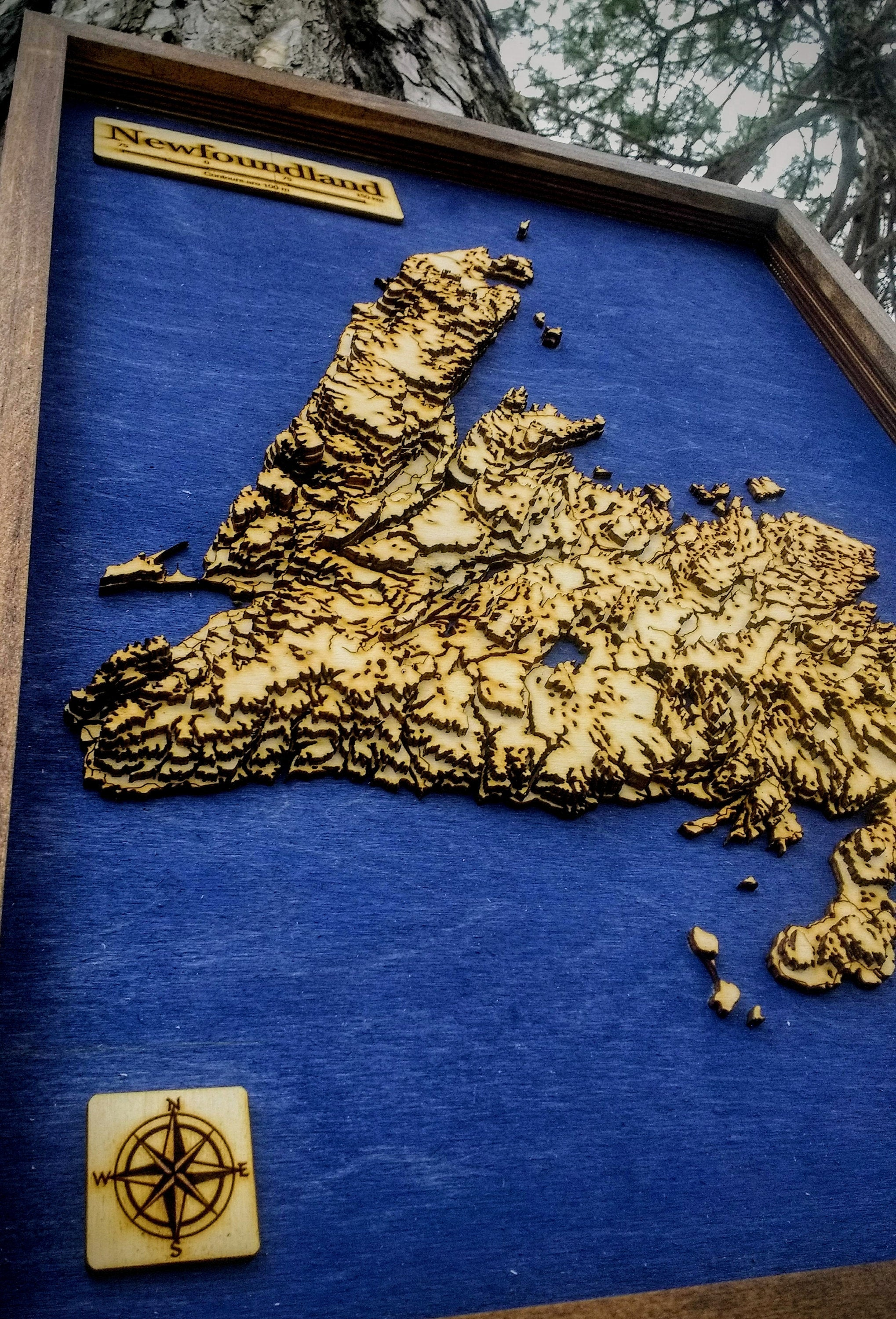 Newfoundland Wooden Topograhical Map
