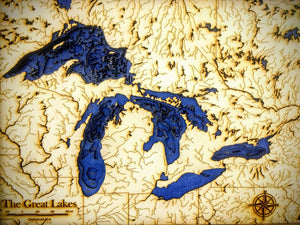 Great Lakes Wooden Bathymetric Map
