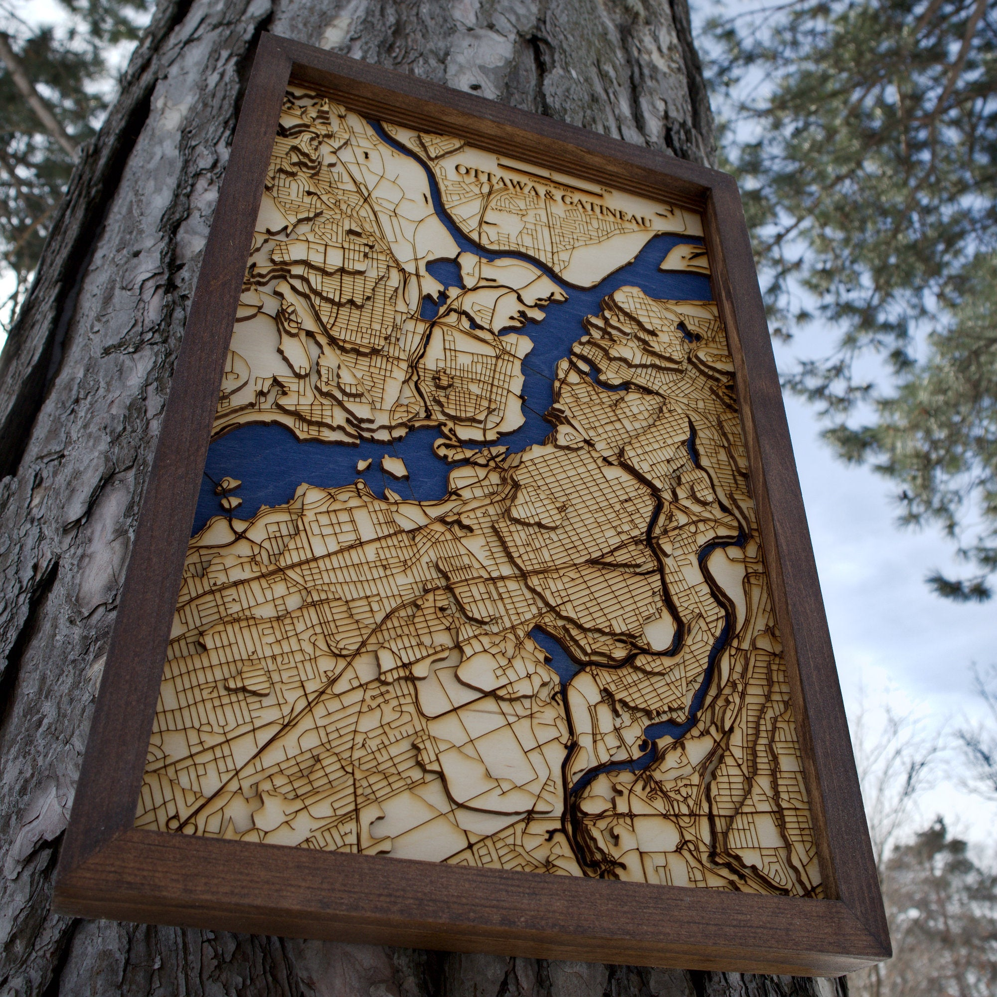 Downtown Ottawa Wooden Topograhical Map