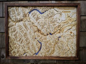 Banff-Canmore Corridor Wooden Topograhical Map