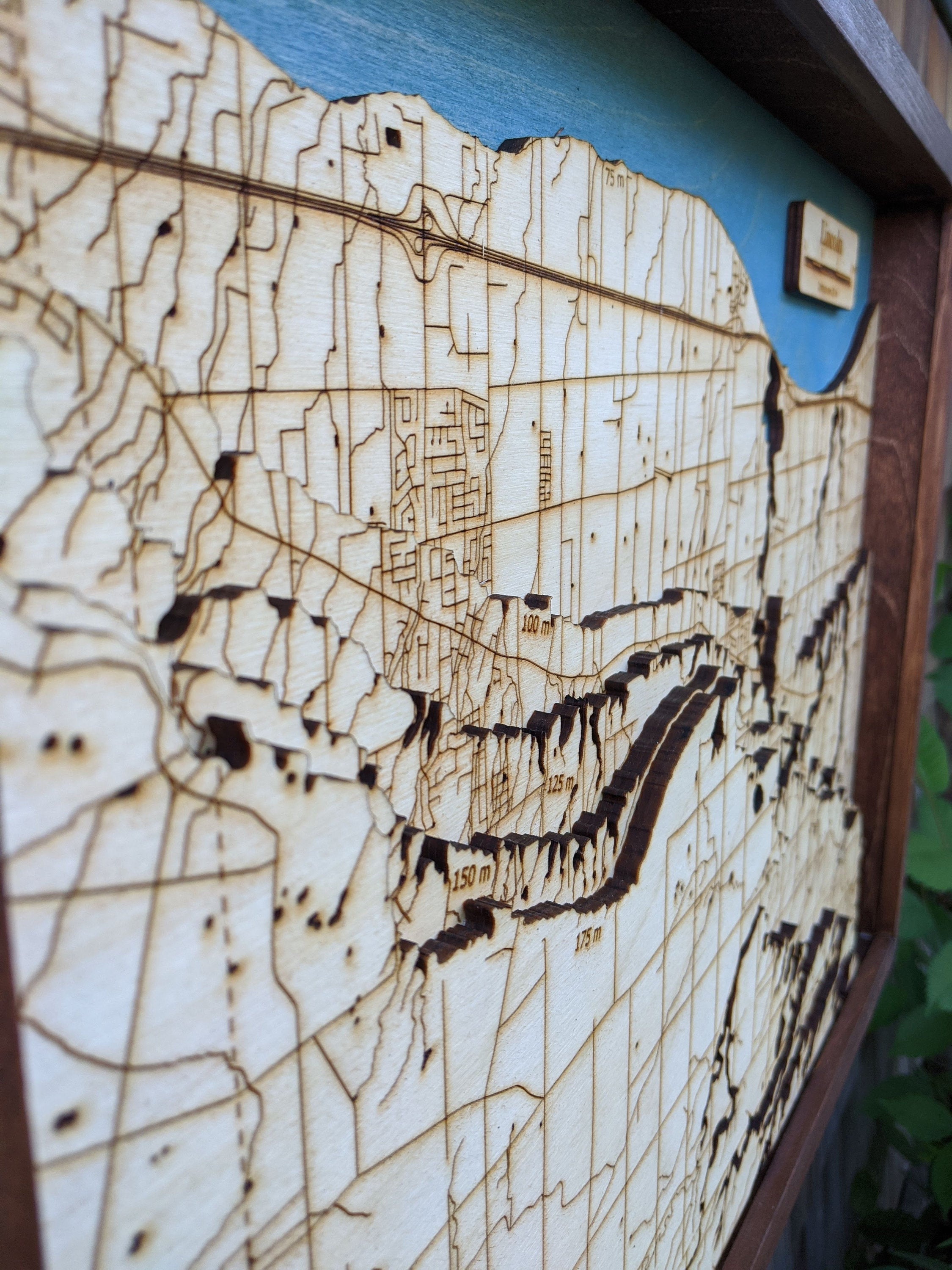 Lincoln Wooden Topograhical Map