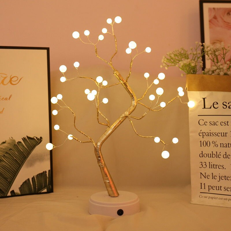 Led Night Light Mini Christmas Tree Copper Wire Garland Lamp For Home Kids Bedroom Decor Lightuptrees
