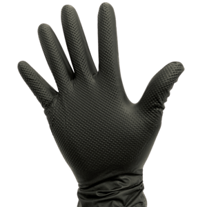 Diamond Textured Black Nitrile Gloves - Multipurpose Gloves - Extended Cuff - MMK Supply
