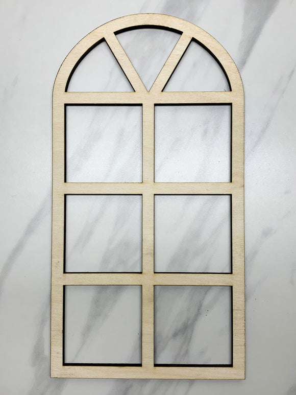 Unfinished Wood Mini Arched Window