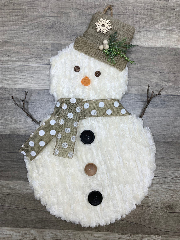Fluffy Snowman Wall Hanging