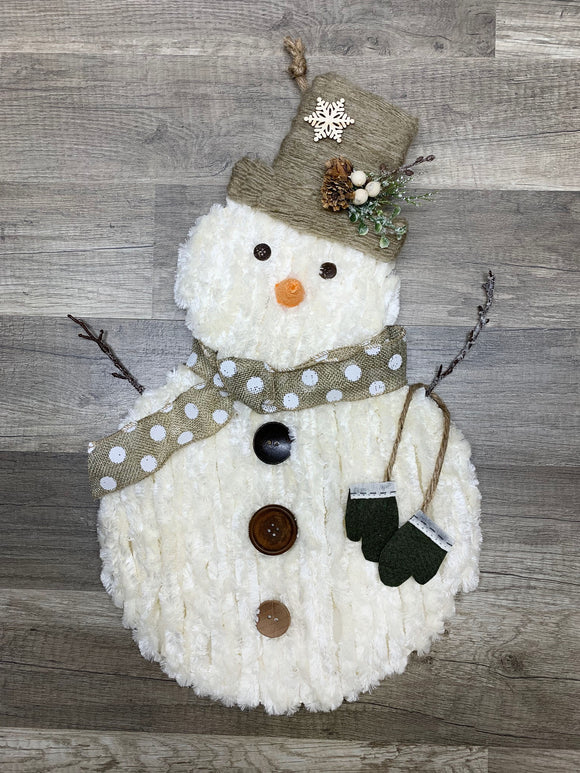 Fluffy Snowman with Mittens Wall Hanging