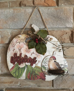 Bird and Nest Decorated Pumpkin Wall Decor